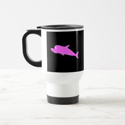 Delfín rosado en negro tazas de café