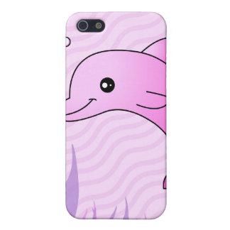 Delfín rosado lindo en agua rosada iPhone 5 carcasas
