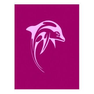 Delfín rosado postal