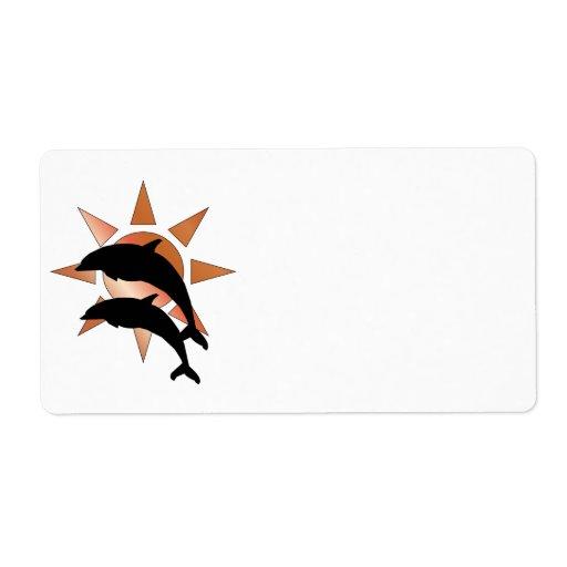 Delfín soleado etiqueta de envío