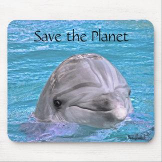 Delfín sonriente - ahorre el planeta tapetes de raton