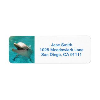Delfín sonriente etiqueta de remite