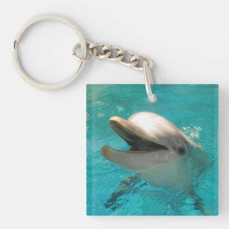 Delfín sonriente llavero cuadrado acrílico a doble cara