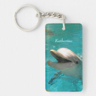 Delfín sonriente llavero rectangular acrílico a doble cara