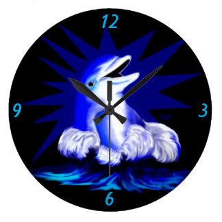 Delfín sonriente reloj redondo grande