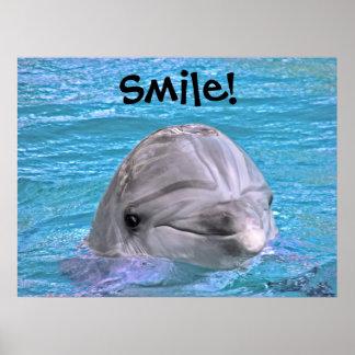 ¡Delfín sonriente - sonrisa! Póster