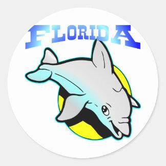 Delfín Sun de la Florida Pegatina Redonda