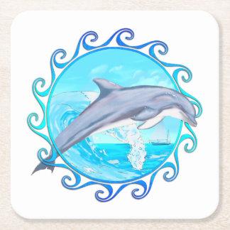 Delfín Sun maorí Posavasos Personalizable Cuadrado