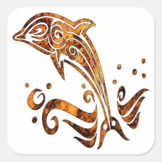 Delfín tribal del tatuaje del Grunge Colcomanias Cuadradases