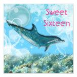 Delfín tropical de la fiesta de cumpleaños de la invitación 13,3 cm x 13,3cm