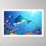 Delfín y ejemplo colorido de Digitaces de la vida  Poster