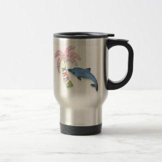 delfín y palmera taza de viaje de acero inoxidable