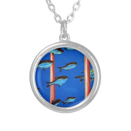 Delfín y pescados pendiente personalizado