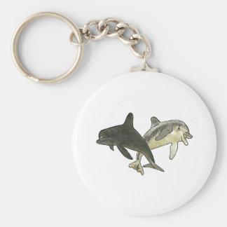Delfínes 2 un blanco los regalos de Zazzle del MUS Llavero Redondo Tipo Pin