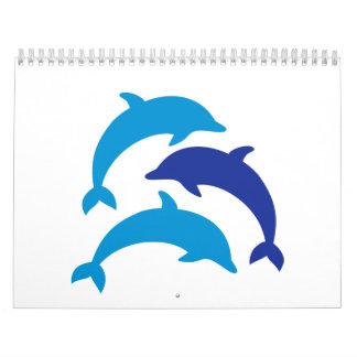 Delfínes azules calendario de pared