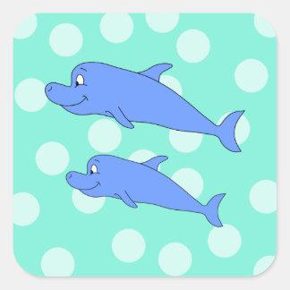 Delfínes azules pegatina cuadrada