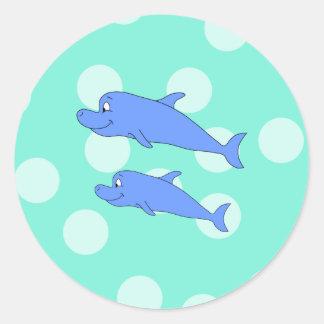 Delfínes azules pegatina redonda