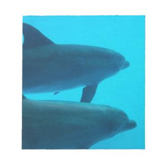 Delfínes azules que nadan la libreta bloc