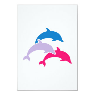 """Delfínes coloreados invitación 3.5"""" x 5"""""""