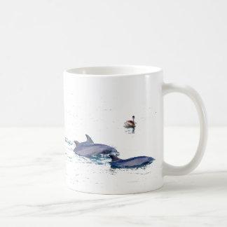 Delfínes de Bottlenose y taza del pelícano
