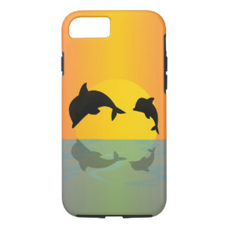 Delfínes de Frollocking en la puesta del sol Funda iPhone 7