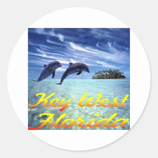 Delfínes de Key West la Florida Etiquetas Redondas