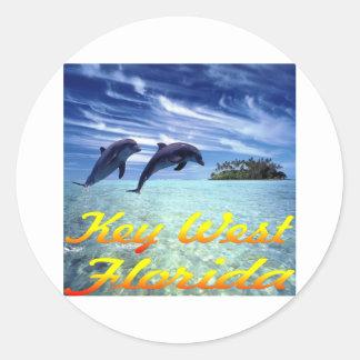 Delfínes de Key West la Florida Pegatina Redonda
