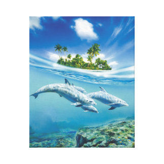 Delfínes de la fantasía que nadan la imagen impresión en lona estirada