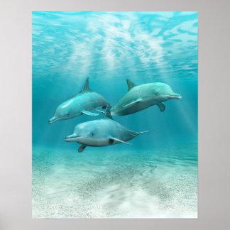 Delfínes de la natación impresiones
