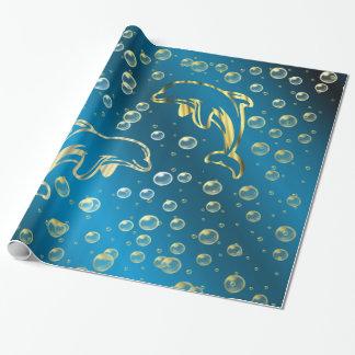 delfínes de oro con descensos de oro del agua papel de regalo
