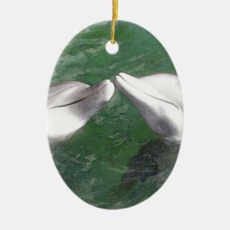 Delfínes Adorno Ovalado De Cerámica