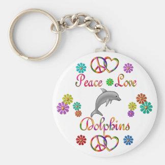 Delfínes del amor de la paz llavero