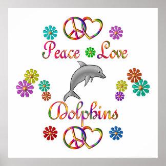 Delfínes del amor de la paz impresiones