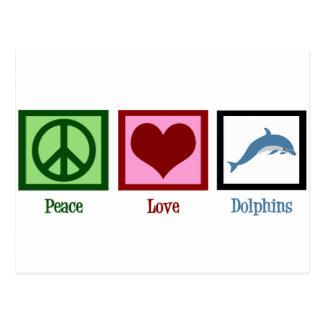 Delfínes del amor de la paz tarjetas postales