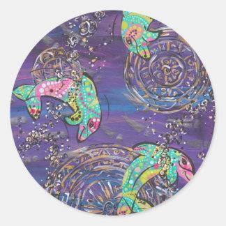 Delfínes del baile pegatina redonda