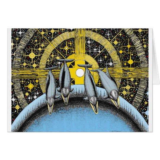 Delfínes del espacio tarjeta de felicitación
