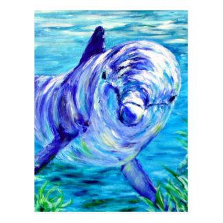 Delfínes del océano que pintan la imagen tarjeta postal
