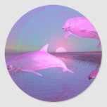 Delfínes del vuelo de la fantasía del agua pegatina
