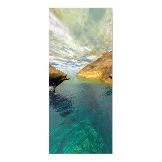 Delfínes divertidos invitación 10,1 x 23,5 cm