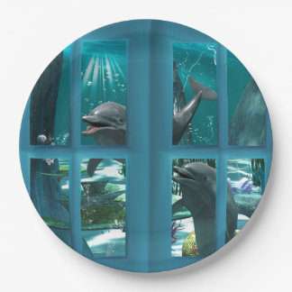 Delfínes divertidos plato de papel 22,86 cm