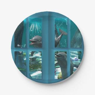 Delfínes divertidos plato de papel 17,78 cm