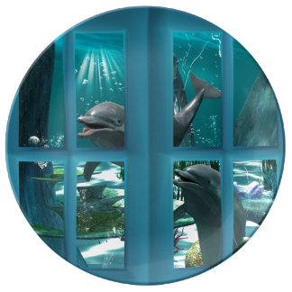 Delfínes divertidos plato de cerámica