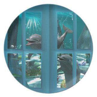 Delfínes divertidos plato para fiesta