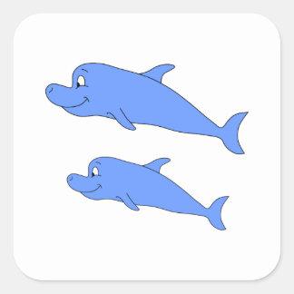 Delfínes en azul pegatina cuadrada