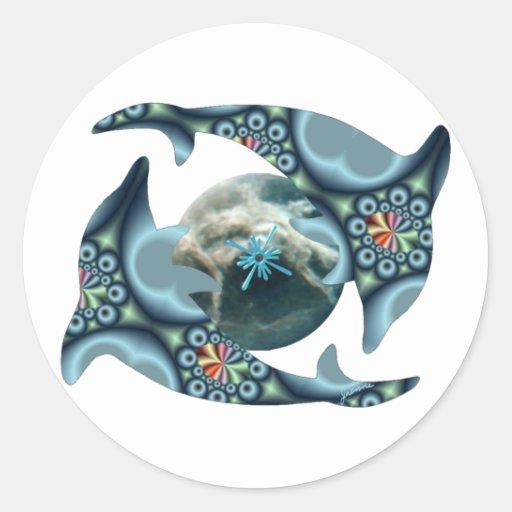 Delfínes en Dione Etiqueta Redonda