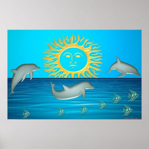 Delfínes en el juego impresiones