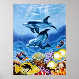 Delfínes en el poster del océano
