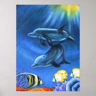 Delfínes en el poster del océano II