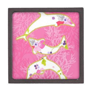 Delfínes en fondo rosado cajas de regalo de calidad