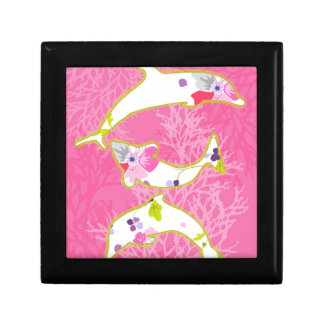 Delfínes en fondo rosado cajas de joyas